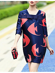 Spring new goldfish pattern sleeve chest bow shift dress elegant fashion in Europe and America
