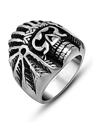 King Skull of the Indian Skeleton Rings for Men Punk Biker Jewelry Cool Man's 316L Stainless Steel Accessories Silver Black Gift