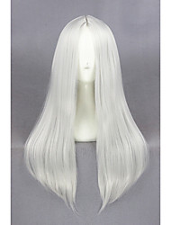 Medium Long Straight Silvery White Synthetic 24inch Anime Cosplay WigsCS-234B