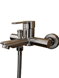 Art Deco/Retro Modern Tub And Shower Widespread with  Ceramic Valve Single Handle Two Holes for  Stainless Steel , Bathtub Faucet