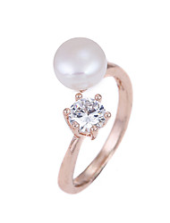 Lureme Women's Rose Gold Plated Freshwater Pearl with Cubic Zirconia Adjustable Open Ring