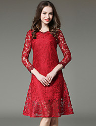 SUOQI Spring Fall Women For Dresses Trumpet/Mermaid Dress Stand Solid V Neck Long Sleeve Lace Dress