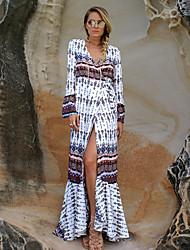 Women's Boho Beach Shift Dress,Print V Neck Maxi Long Sleeve Polyester Summer Mid Rise Micro-elastic Medium