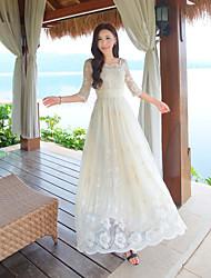 positionnement de signe de broderie rétro fleur Duolei tempérament jupe robe de fée si