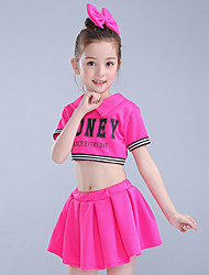 Girls' Going out Casual/Daily Sports Suit Striped Patchwork Sets Cotton Summer Short Sleeve 2 Piece Cheerleader Clothing Set