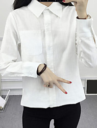 Sign 2017 spring models loose long-sleeved white shirt female Korean leisure wild long section bottoming shirt