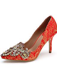 Mujer-Tacón Stiletto-Zapatos de niña de las flores Zapatos bordados Zapatos del club-Tacones-Boda Fiesta y Noche-Semicuero-Rojo