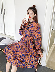 Spring Korean version of the retro sweet small floral elastic waist fold long section bottoming skirt women dress real shot