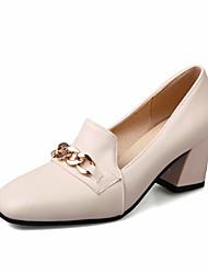 Damen-High Heels-Lässig-Lackleder-Blockabsatz-Club-Schuhe-Beige Gelb Rosa