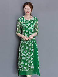 2017 spring new women retro high-end European and American temperament silk printed silk dress long section of the Spring and Autumn