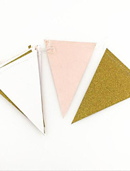 3m 15Flags Pink White Gold Flag Banner Glitter Paper Pennant Bunting Garland Extra Sparkle for Wedding Teepee Deco Birthday Party Nurser