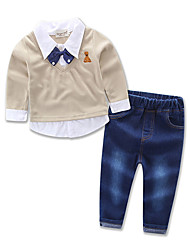 Boy Handsome Jeans Kids Gentleman Bow Tie Fake Two Piece Shirts Clothing Spring / Autumn High Quality Boys Clothes Set