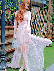 2016 novo verão high-end resort refinado estética perspectiva gaze vestido sol proteção vestuário fêmea longo seção