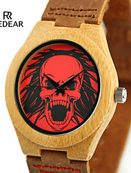 Men's Wrist watch Japanese Quartz Japanese Quartz Wooden Leather Band Skull Cool Black Brown