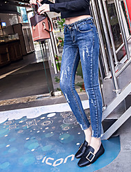 Европейские станции корейского стрейч тонкого носить плотный пакет ноги девять очков дна ноги карандаш джинсы женщина прилива