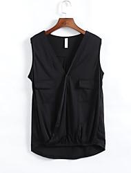 Tee-shirt Femme,Couleur Pleine Plage Sexy Bohème Sans Manches V Profond Polyester Fin