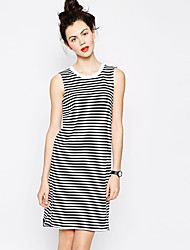 Shipped pinstripe wild cotton sleeveless dress