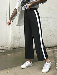 Really making 2017 new sweatpants waist striped casual pants pantyhose female bell bottom pants wide leg pants