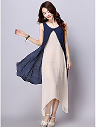 New female literary retro cotton dress summer dress fake two big yards loose linen skirt spot