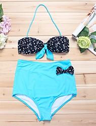 Bikinis Aux femmes Pois Licou Polyester