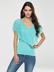 Damen Solide Einfach Lässig/Alltäglich T-shirt,V-Ausschnitt Sommer Kurzarm Rot / Schwarz / Grün / Lila Polyester Dünn