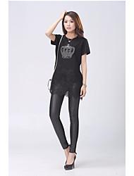 Damen Druck Anspruchsvoll Lässig/Alltäglich T-shirt,Rundhalsausschnitt Kurzarm Baumwolle