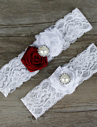 2pcs/set Dark Red And White Satin Lace Chiffon Beading Wedding Garter