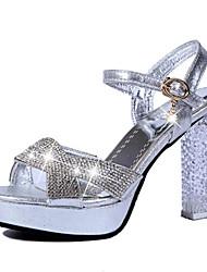 Для женщин Обувь на каблуках Удобная обувь Полиуретан Весна Удобная обувь На толстом каблуке Золотой Серебряный 9,5 - 12 см