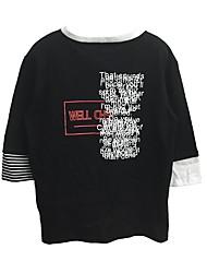 assinar splicing direito listrado lado deixar duas letras impressas t-shirts