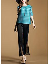 2017 nova primavera suburbano quinta pressão manga gola plissada t-shirt camisa curta + calça