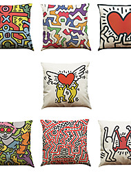 Set of 7 Puzzle Pattern Linen  Cushion Cover Home Office Sofa Square  Pillow Case Decorative Cushion Covers Pillowcases