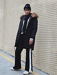 Masculino Simples Cintura Alta Com Elástico Chinos Calças,Solto Color Block