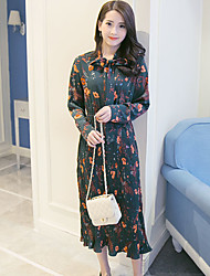 Sign 2017 Spring New green single-breasted suit pleated skirt long-sleeved dress bow