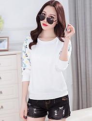 Zeichen neue Frühjahr koreanischen Frauen&# 39; s Rundhals Langarm-Kultivierung große Größe Mode gedruckte T-Shirts