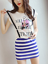 Model proxy video provided Korean striped fake two-piece package hip strap dress printing