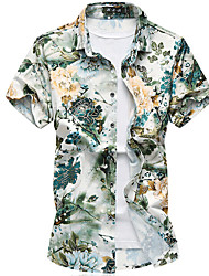 Men's Going out Casual/Daily Holiday Simple Summer Fall Shirt,Floral Shirt Collar Short Sleeve Cotton Thin