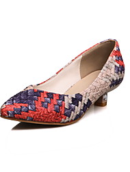 Women's Heels Summer Fall Club Shoes PU Office & Career Party & Evening Dress Low Heel Plaid