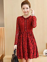 2017 new high-end dress big red spring Slim thin long-sleeved dress women