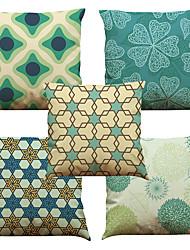 5 PC Lino Natural/Orgánico Cobertor de Cojín Funda de almohada,A cuadros Floral Sólido Con TexturasReforzar Euro Estilo playero Casual