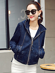 Women's Going out Casual/Daily Simple Spring Fall Denim Jacket,Solid Hooded Long Sleeve Short Cotton Polyester