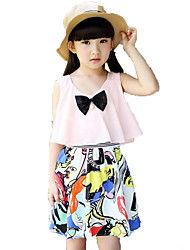 Girl's Beach Sports Solid Floral Embroidered Dress,Polyester Summer Sleeveless