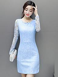assinar Primavera versão coreana do novo vestido de renda Outono de 2017 saias pacote de quadril mulheres slim de manga comprida