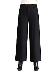 Women's Mid Rise Inelastic Chinos Pants,Simple Loose Solid