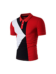 Men's Sports Casual/Daily Simple T-shirt,Print Color Block Shirt Collar Short Sleeve Cotton