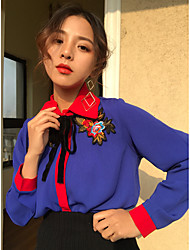 Real shot new Korean hit color embroidered long-sleeved shirt bottoming shirt retro loose
