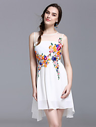 YHSPWomen's Going out Beach Holiday Cute Sophisticated A Line Sheath Chiffon DressEmbroidered Round Neck Above Knee Sleeveless Polyester