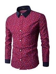 Men's Fashion Personality Casual Water Drops Printed Long-Sleeved Shirt