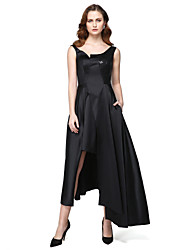 TS Couture® Formal Evening Black Tie Gala Dress - High Low A-line Jewel Asymmetrical Satin with Pockets Sequins