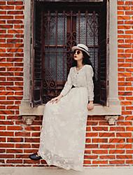 mulheres&# 39; s vestido de gaze flor da mola do bordado de manga comprida de fadas deus retro feriado foi cintura fina