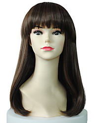 Natural Curly Wig Synthetic Fiber Wig Hairstyle With Neat Bangs For Women